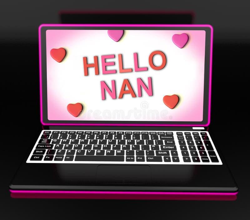 Здравствуйте! Nan с сообщением выставок сердец и наилучшими пожеланиями иллюстрация вектора