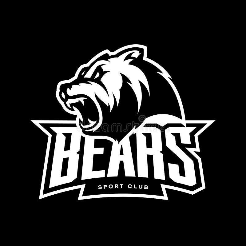 Злющая концепция логотипа вектора спорта медведя изолированная на темной предпосылке иллюстрация вектора