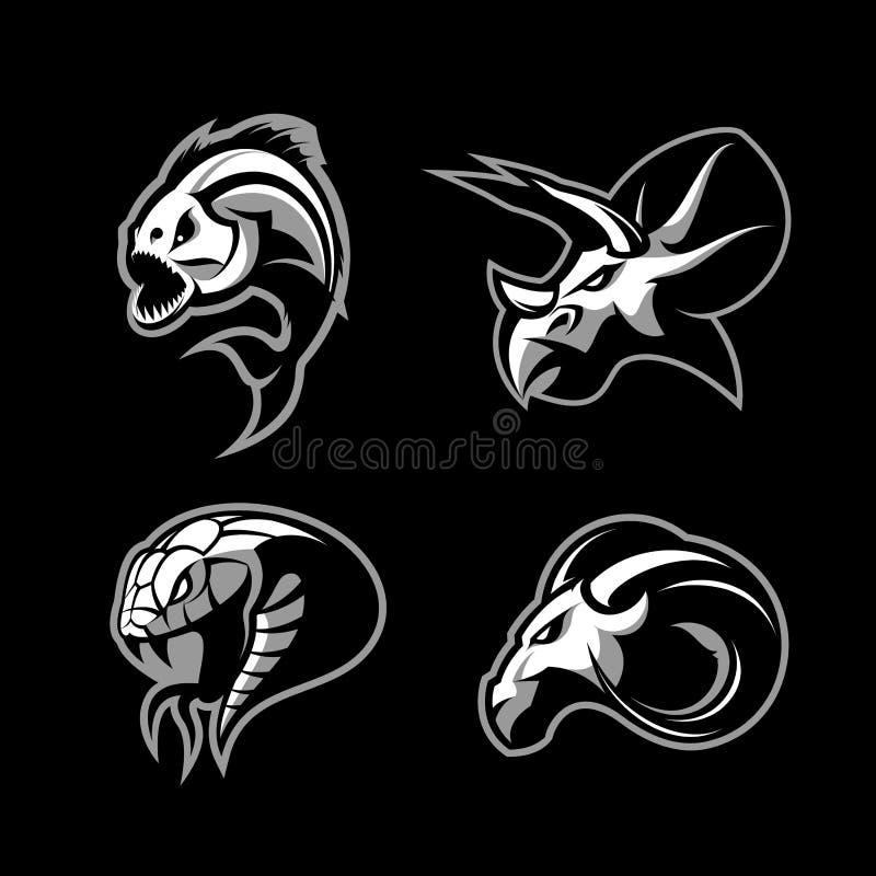 Злющий комплект концепции логотипа вектора спорта piranha, штосселя, змейки и динозавра головной изолированный на черной предпосы бесплатная иллюстрация