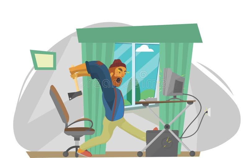 Злющий frustated бизнесмен ударяя компьютер иллюстрация штока