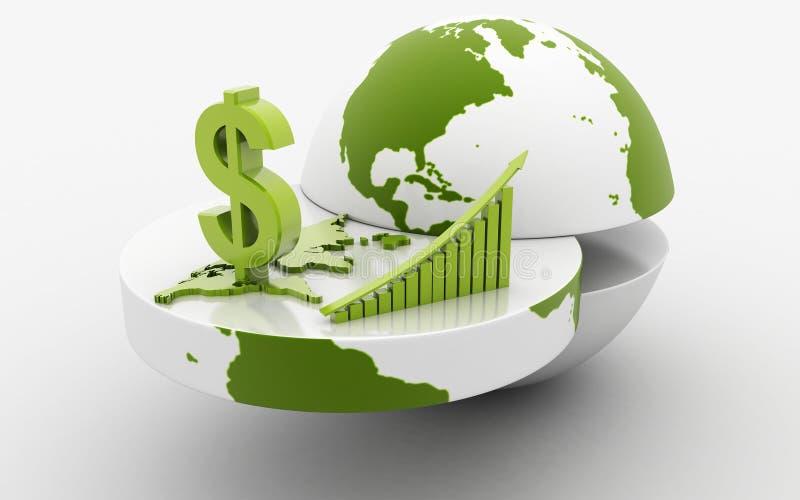 диаграмма дела с землей и долларом иллюстрация штока