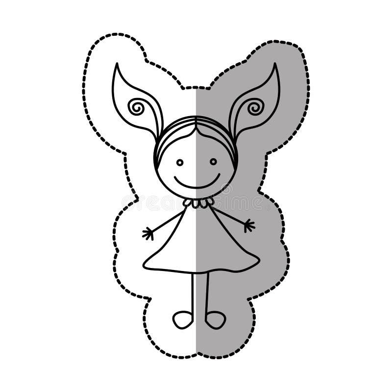 диаграмма счастливая девушка с значком 2 кабелей иллюстрация штока