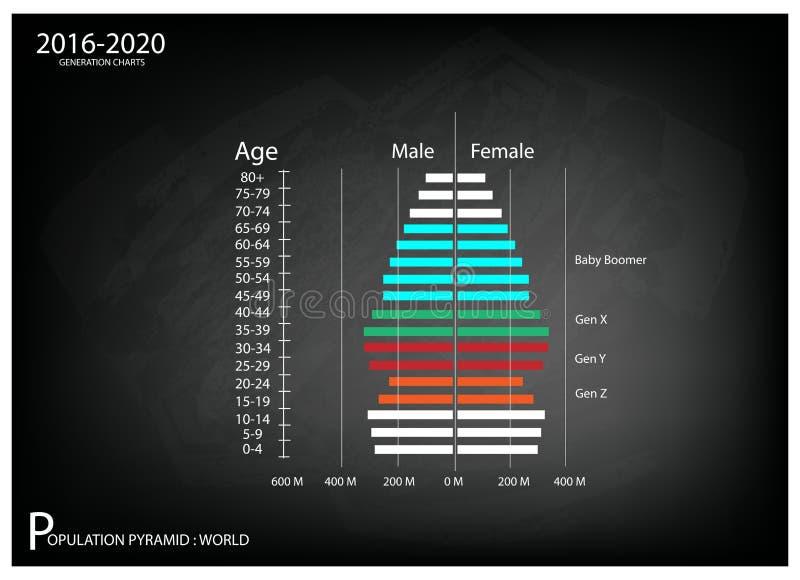 2016-2020 диаграммы возрастно-половых пирамид с поколением 4 иллюстрация вектора
