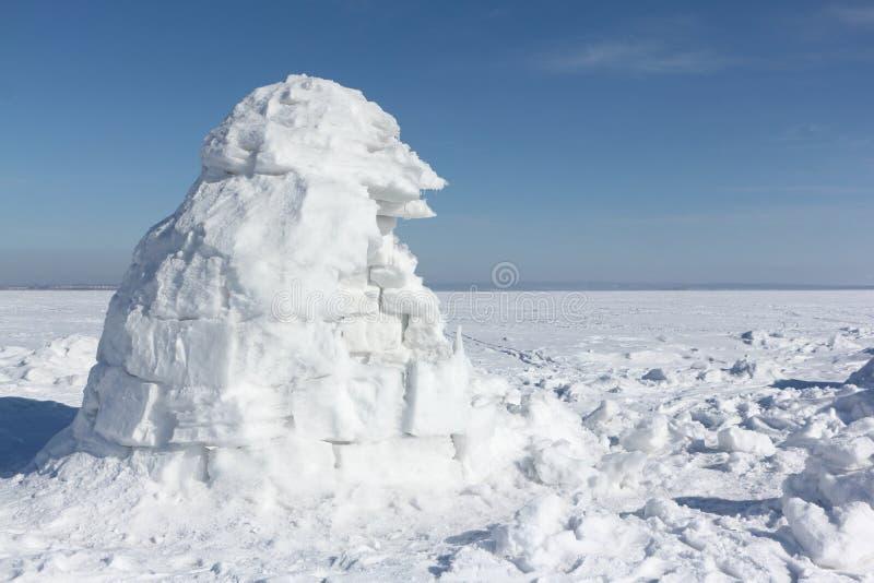 Иглу стоя на снежном glade стоковая фотография rf