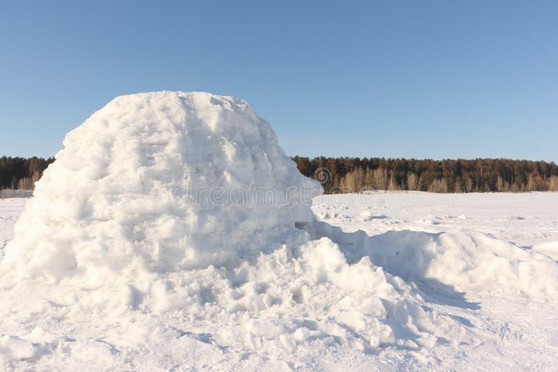 Иглу стоя на снежном glade стоковое изображение rf