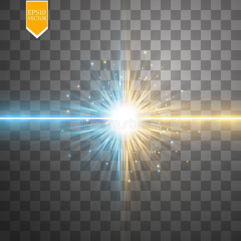 Играйте главные роли световой эффект столкновения и взрыва, неоновое сияющее столкновение лазера окруженное stardust на прозрачно иллюстрация штока