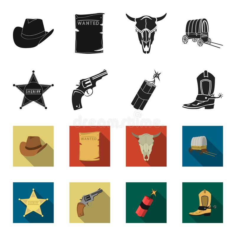 Играйте главные роли шериф, новичок, динамит, ботинок ковбоя Значки в черноте, запас собрания Диких Западов установленные символа иллюстрация штока