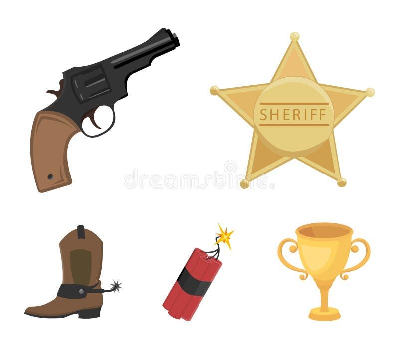 Играйте главные роли шериф, новичок, динамит, ботинок ковбоя Значки собрания Диких Западов установленные в шарже вводят запас в м бесплатная иллюстрация