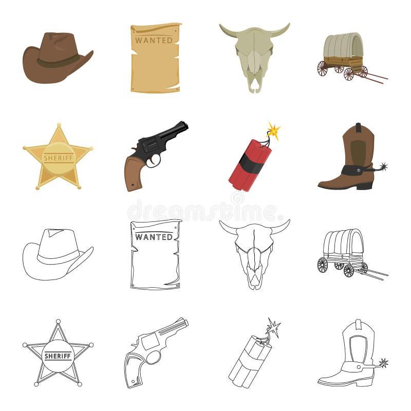 Играйте главные роли шериф, новичок, динамит, ботинок ковбоя Значки собрания Диких Западов установленные в шарже, запасе символа  иллюстрация вектора