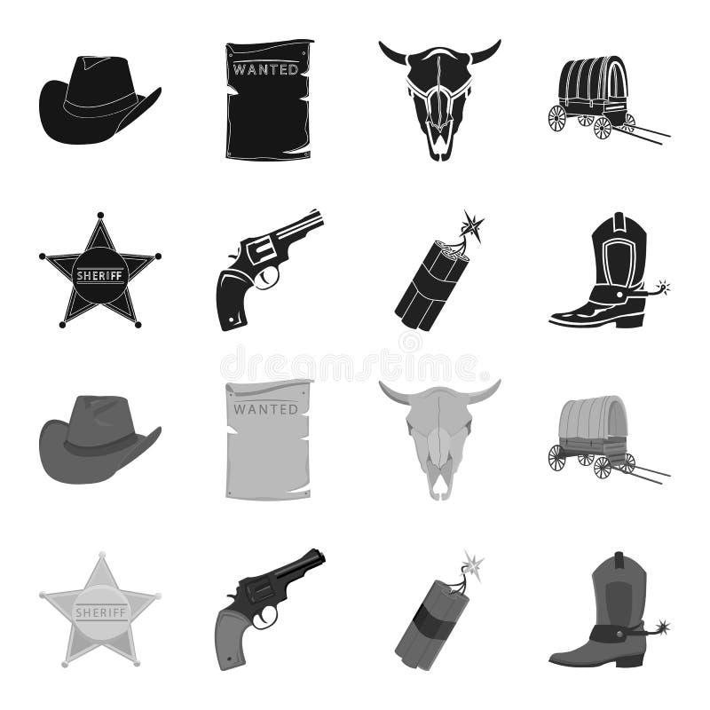 Играйте главные роли шериф, новичок, динамит, ботинок ковбоя Значки собрания Диких Западов установленные в черном, monochrome зап бесплатная иллюстрация