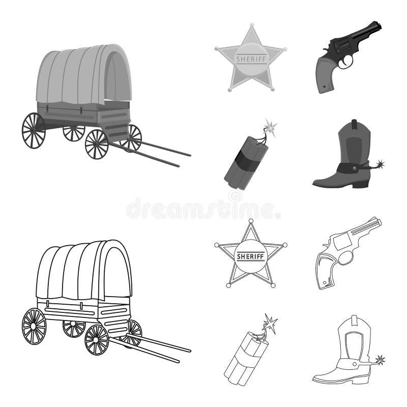 Играйте главные роли шериф, новичок, динамит, ботинок ковбоя Значки собрания Диких Западов установленные в плане, monochrome симв бесплатная иллюстрация