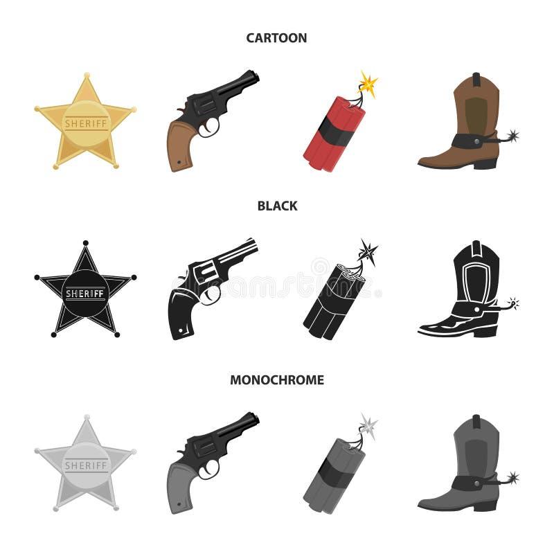 Играйте главные роли шериф, новичок, динамит, ботинок ковбоя Значки собрания Диких Западов установленные в шарже, черноте, monoch бесплатная иллюстрация