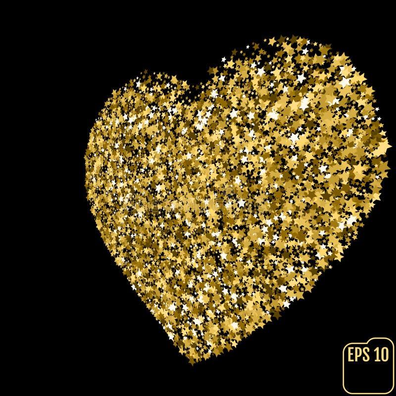 Играйте главные роли sequin золота яркого блеска в форме сердца изолированный на черном backgr иллюстрация штока