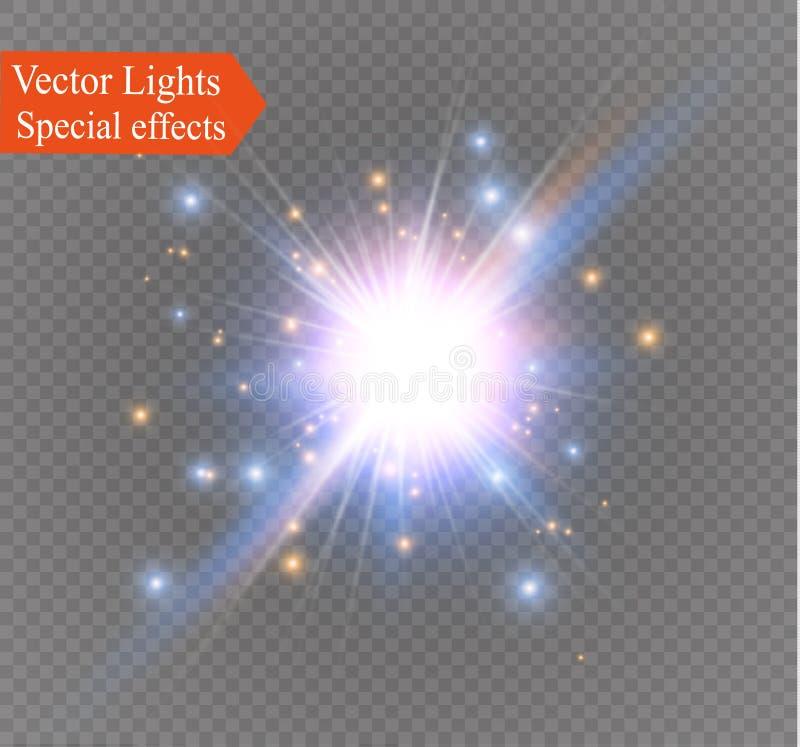 Играйте главные роли на прозрачной предпосылке, световом эффекте, иллюстрации вектора взрыв с sparkles иллюстрация вектора