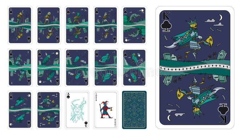 Игральные карты в клубах стиля фантазии как мультфильм нежитей стоковые фотографии rf