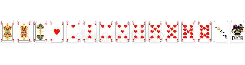 Игральные карты - ИСКУССТВО ПИКСЕЛА сердца пиксела иллюстрация штока