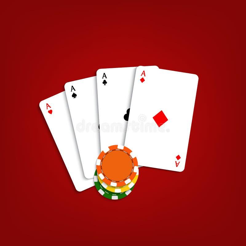 Игральные карты и обломоки на красной предпосылке иллюстрация вектора
