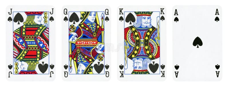 Игральные карты костюма лопаты, набор включают короля, ферзя, поднимают домкратом и туз иллюстрация штока