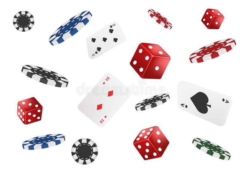 Игральные карты, обломоки покера и кость летают казино изолированное на белой предпосылке Иллюстрация вектора казино покера Онлай иллюстрация штока