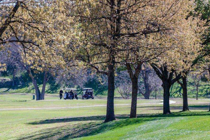 Играть гольф около Рекы San Gabriel стоковые фото
