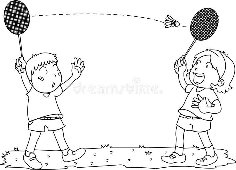 играть девушки мальчика badminton иллюстрация штока