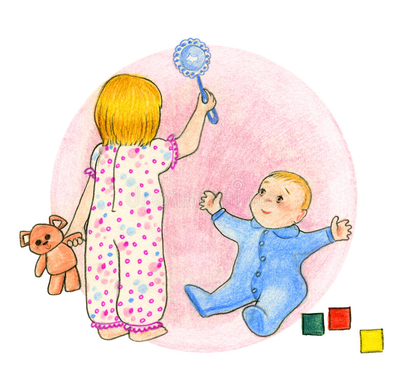 Играть детей иллюстрация вектора