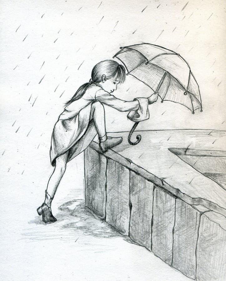 играть дождь иллюстрация вектора