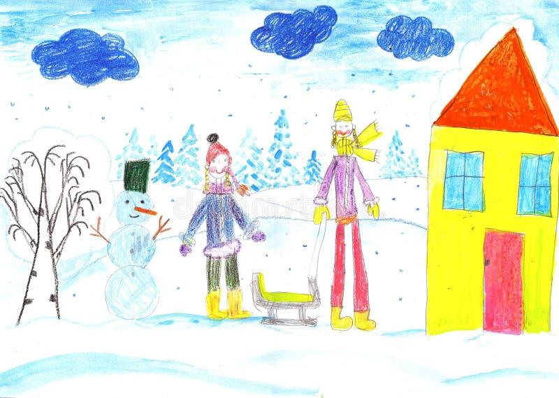 Играть, катание на лыжах и sledding детей Сделайте снеговик иллюстрация штока