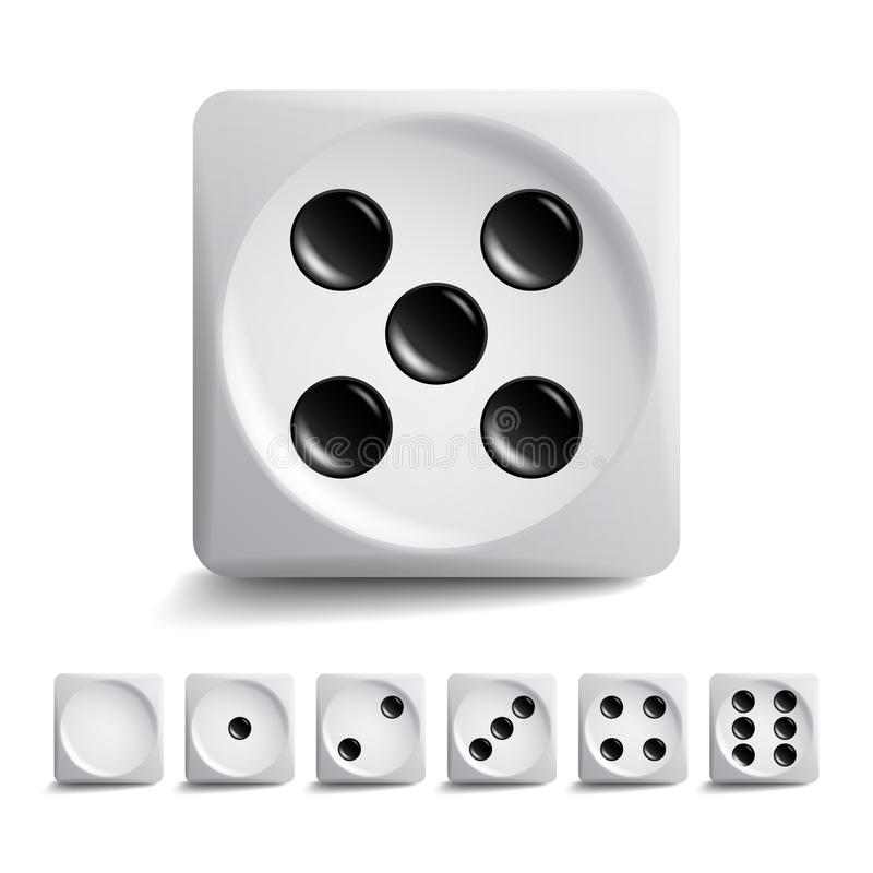 Играть комплект вектора кости Различные изолированные кубы игры вариантов Значки собрания Aauthentic в реалистическом стиле Играя иллюстрация вектора