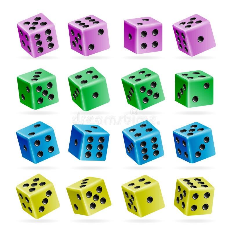 Играть комплект вектора кости реалистические кубы 3d с номерами точки Хороший для играть игру казино доски Изолировано на белизне иллюстрация вектора