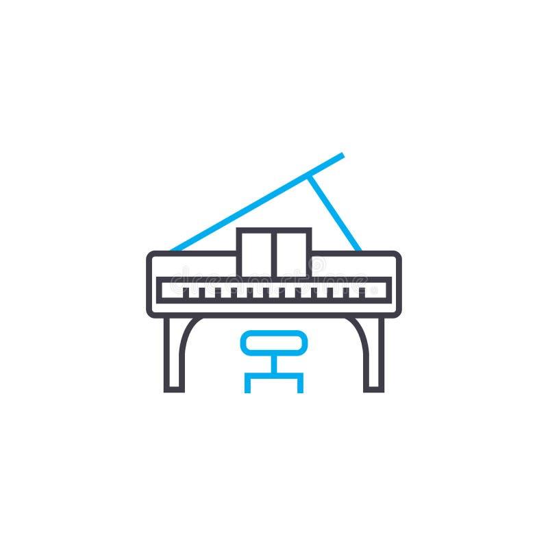 Играть концепцию значка рояля линейную Играющ рояль выровняйте знак вектора, символ, иллюстрацию бесплатная иллюстрация