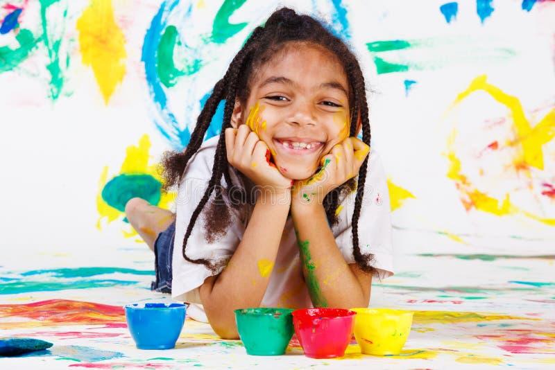 играть красок малыша перста стоковая фотография