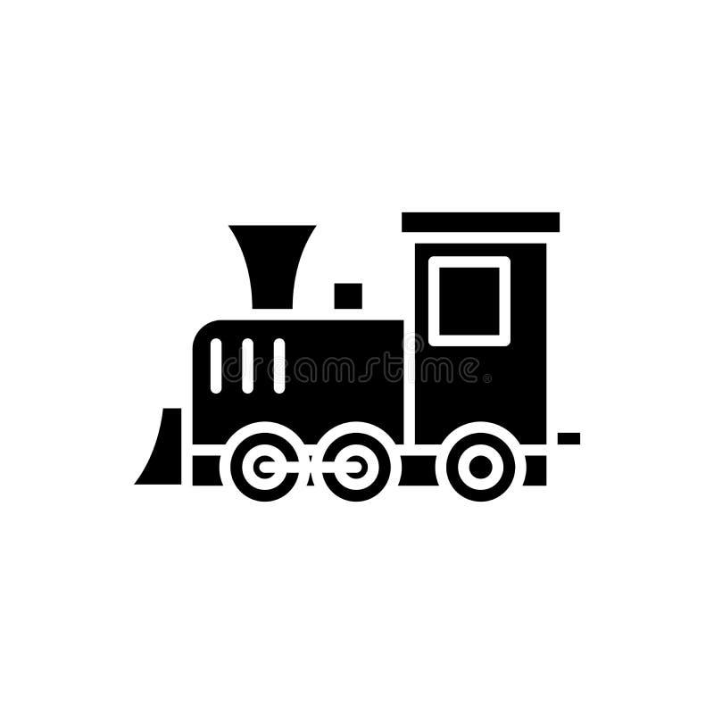 Играть локомотивную черную концепцию значка Играть локомотивный плоский символ вектора, знак, иллюстрация иллюстрация вектора
