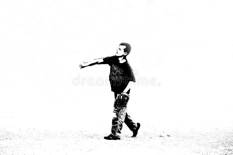 играть мальчика бейсбола стоковое изображение rf