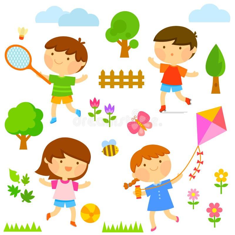 играть малышей внешний иллюстрация штока