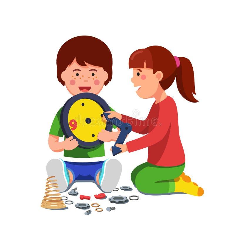 Играть мальчика и девушки сидя с механически часами иллюстрация вектора