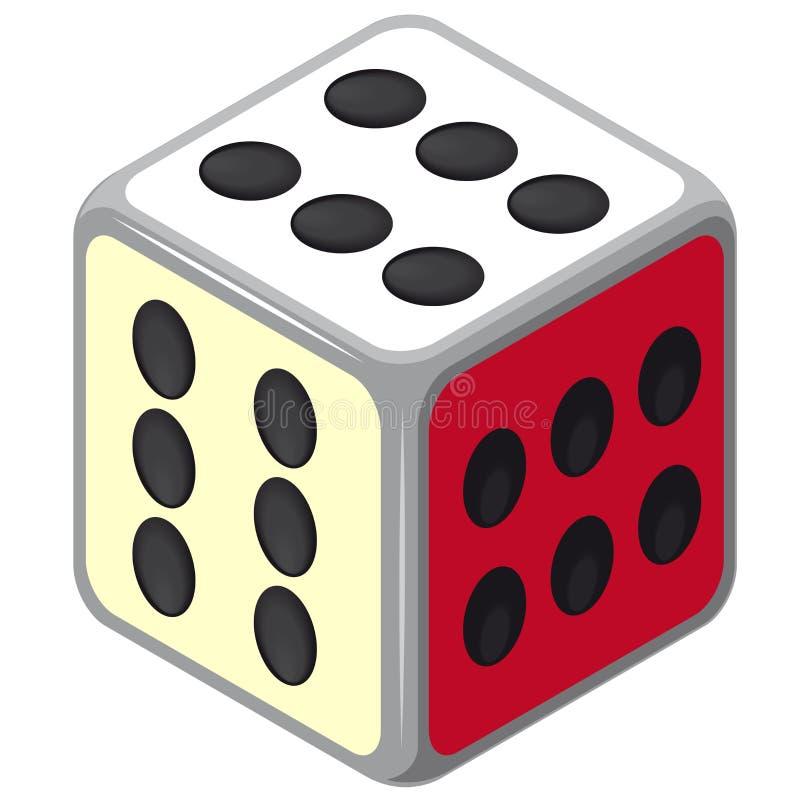 Играть равновеликую кость Куб игры казино Colorfull счастливый на белизне иллюстрация штока