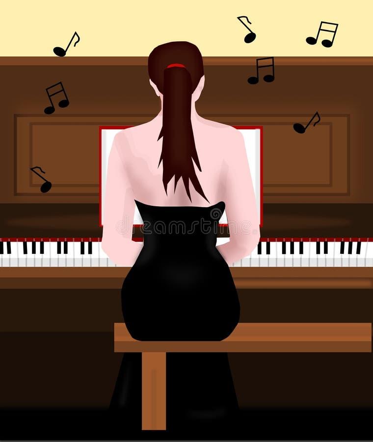 играть рояля девушки иллюстрация штока
