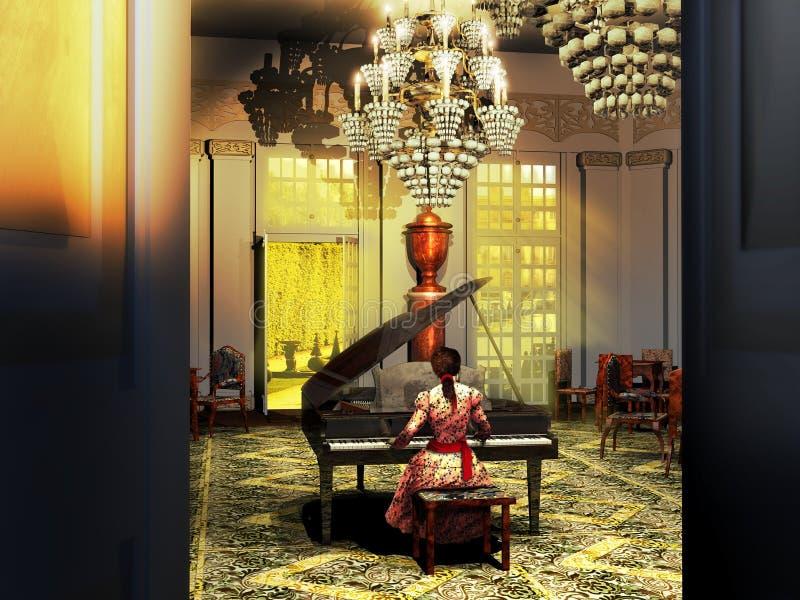 Играть рояль в замке иллюстрация штока