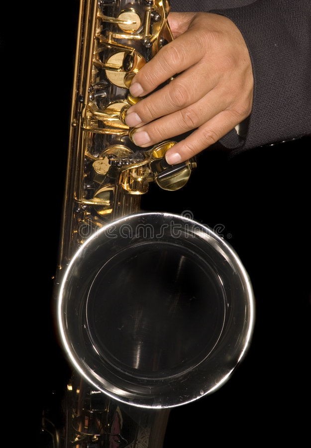 Играть саксофониста стоковая фотография rf