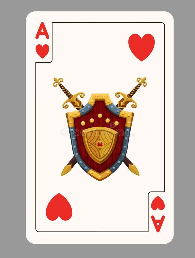 играть сердец карточки туза иллюстрация штока