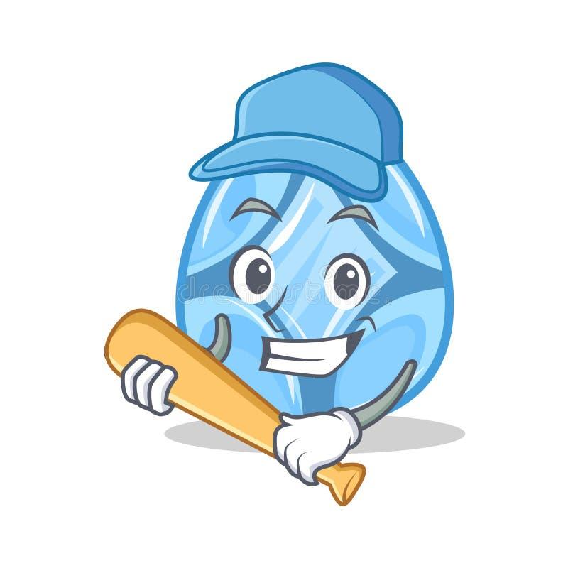 Играть стиль шаржа характера диаманта бейсбола иллюстрация штока