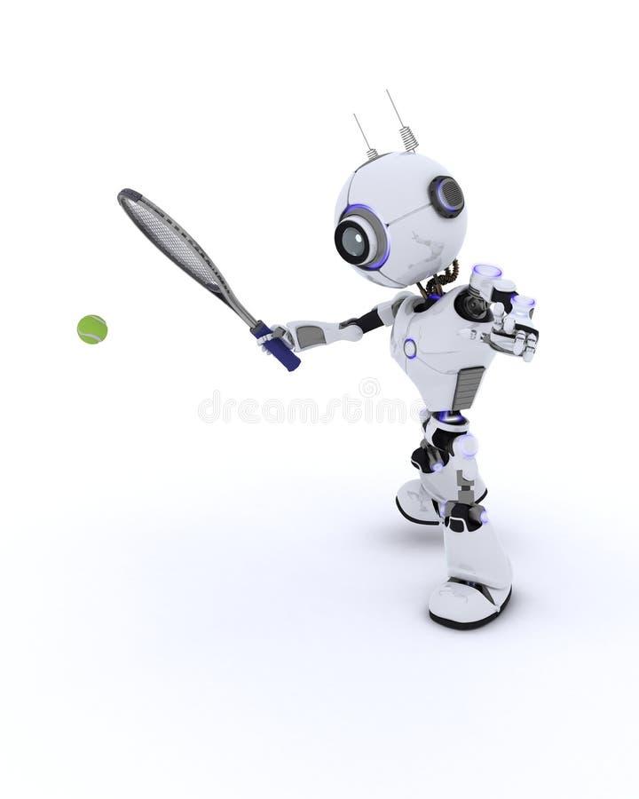 играть теннис робота иллюстрация штока