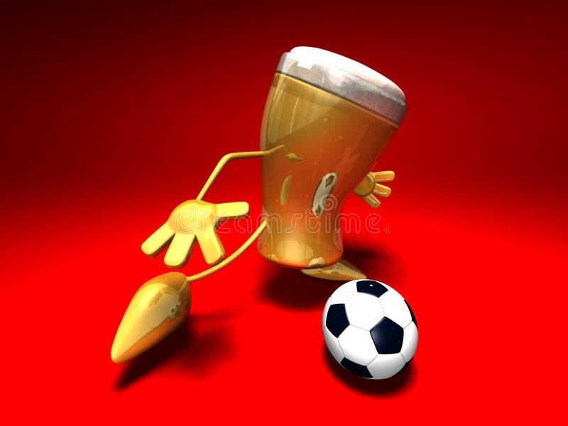 играть футбола пива иллюстрация вектора