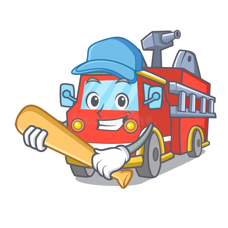 Играть шарж характера пожарной машины бейсбола иллюстрация вектора