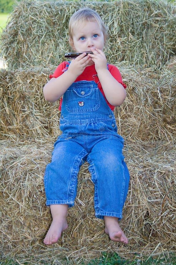играть harmonica ребенка стоковые фото