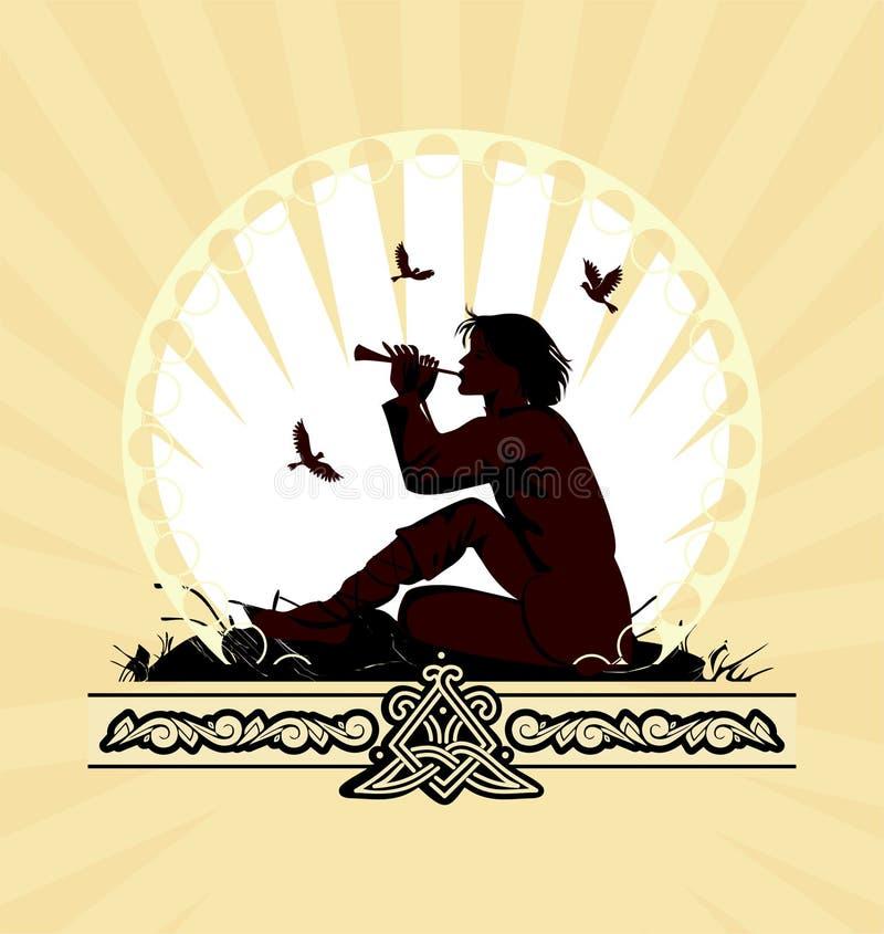 играть panpipe мальчика предпосылки бесплатная иллюстрация