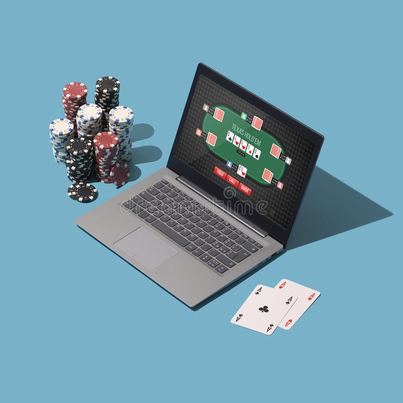 Играющ Техас для того чтобы держать их покер онлайн бесплатная иллюстрация
