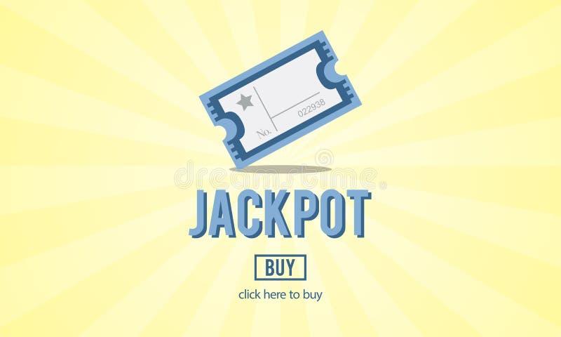 Играя в азартные игры везение джэкпота входит в для того чтобы выиграть концепцию билета Lotto иллюстрация вектора