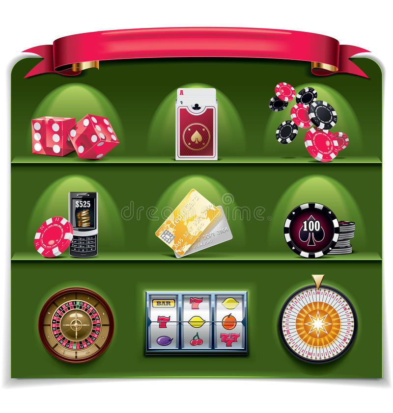 играя в азартные игры вектор зеленой части иконы 2 установленный иллюстрация штока